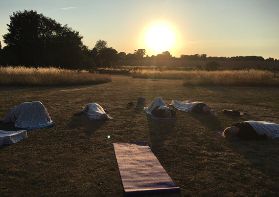 outdoor yoga class and yoga practise, Saraha yoga Bradfield St George, Bury St Edmunds